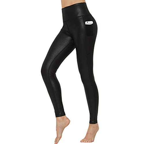 HARTPOR Women's Faux Leather Coated Capri Leggings Stretch High Waist Pocketed Workout Tights Yoga Pants