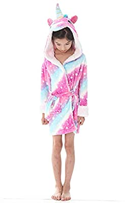 Women's Sleepwear Kids Bathrobe Unicorn Pajamas Sleepwear Boys Girls Hooded Robe Loungewear