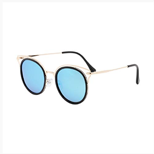 Retro Round Sunglasses for Women Vintage Style Pilot Mirror Flat Lens Sunglasses Metal Frame Spring Hinge
