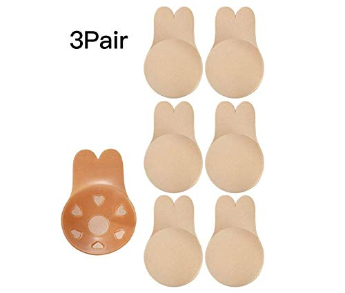 3 Pairs Women Lift Nipple Breast Covers Adhesive Strapless Pasties Rabbit Ear Shape Backless Bras