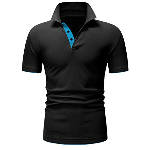 Polo Shirt Splice Regular-Fit Quick-Dry Golf Fashion Shirt Short Sleeve Casual T-Shirt Blouse Tops Men (M,Black)]()