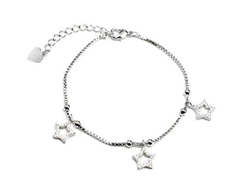 BC1395E - Bracelet Fine Chaîne Métal avec Charms Etoiles Ouvertes Strass Zirconium Argenté - Mode Fantaisie