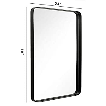 Image of ANDY STAR Black Rectangular Wall Mirror | 24x36x2'' Contemporary Stainless Steel Metal Frame Rounded Corner 2'' Deep Set Design for Bathroom