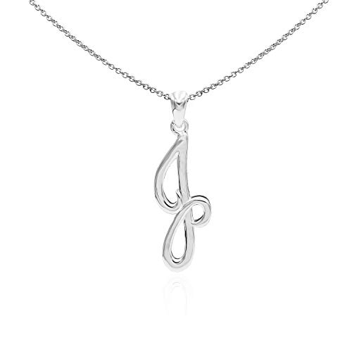 Sea of Ice Sterling Silver Initial Alphabet Letters J Pendant Necklace, 18 inch (Jewelry 925 Initial Pendant Silver)