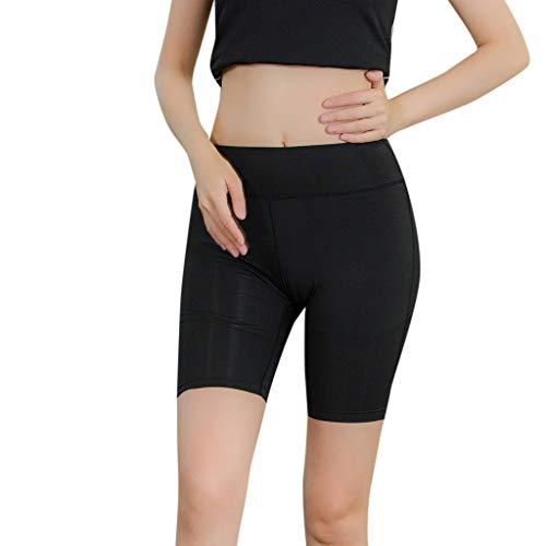 Price comparison product image iNoDoZ Women's Solid Color Leggings Short Luminous Reflective Strip Yoga Sports Fitness Shorts Yoga Pant Black