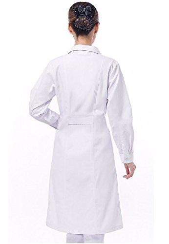 WDF Bata de Laboratorio médicos Bata Uniforme de Trabajo Enfermera Blanco Mujer Manga Larga Largo párrafo Botones Esposas: Amazon.es: Ropa y accesorios