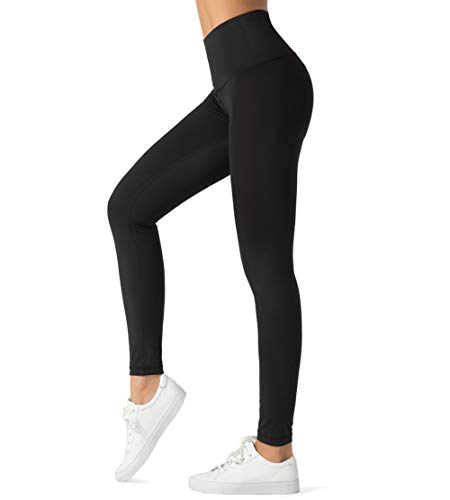 Dragon Fit Compression Yoga Pants with 4 Inner Pockets in High Waist Athletic Pants Tummy Control Power Stretch Workout Yoga Leggings (Medium, Black-2 Inner Pockets)