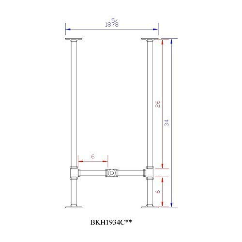 H34'', Rusty Design, BKH1934C50 Pipe Legs KIT with Cross Bar for Counter Height Table, H shape, L50'' x W19'' x H34'', Pack suitable for 1 Table by Rusty Design (Image #3)