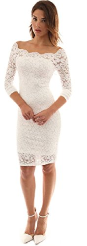 Women's Off Shoulder Lace Dress Long Sleeve Cocktail Dress (White, XLarge) beautiful lace dress for Evening Prom Business and Formal Vintage Off Shoulder Floral Long Sleeve Gowns Retro Elegant Slim Pe (Prom Slim Gown)