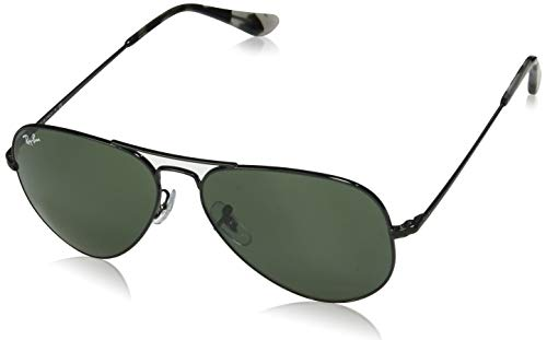 Ray Ban Aviator Green Glass - Ray-Ban RB3689 Aviator Sunglasses, Black/Green, 58