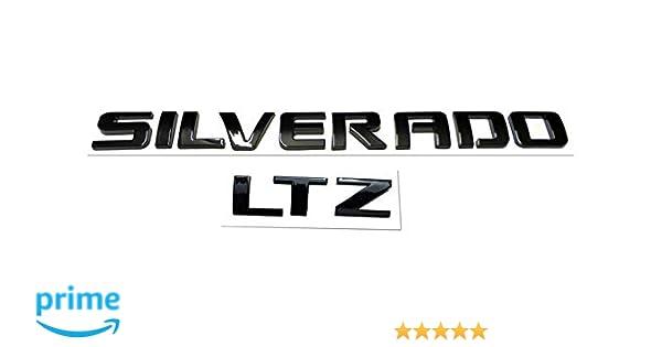 1x Silverado LTZ Letter Nameplate Emblem Badge Replacement for Silverado 1500 2500HD 3500HD Shiny Black Emzscar