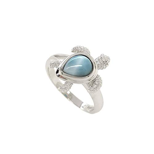 Aloha Jewelry Company Sterling Silver Natural Larimar Turtle Wedding Band Promise Ring (6)