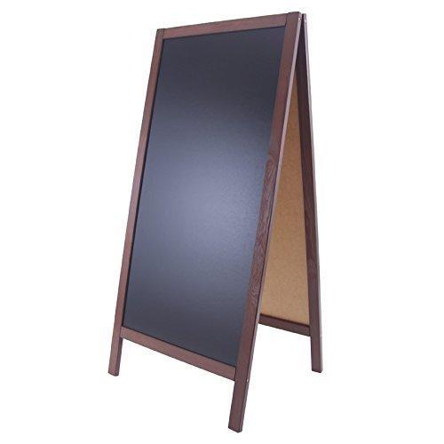 XXL Kundenstopper 118x56cm Holz Tafel Aufsteller Werbetafel Holztafel Werbeaufsteller (dunkelbraun)