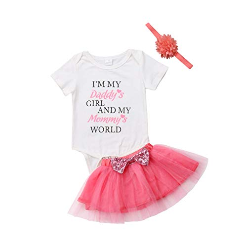 9d57979a7 Newborn Infant Baby Girls I'm My Daddy's Girl and My Mommy's World Romper  Tutu