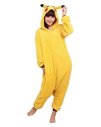 "Super9COS Pokemon Pikachu Kigurumi Pajamas Adult Anime Cosplay Halloween Costume ,size XL (70""-74"") (disfraz)"