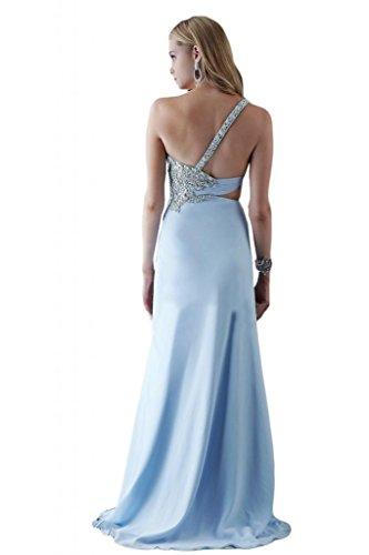 Toscana un-hombro elegante de la novia por la noche vestidos de dama de honor de ranura la gasa bola Prom vestidos de fiesta largo Hell Himmel Blau
