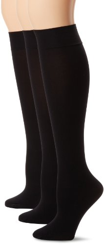 HUE Women's Soft Opaque Knee High Socks (Pack of 3),Black,1 (Calf Socks Patterned)