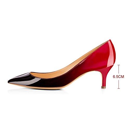 Onlymaker Damen Klassische Spitzschuh Mid Heel Large Size Kleid Party Pump Schuh Red To Black