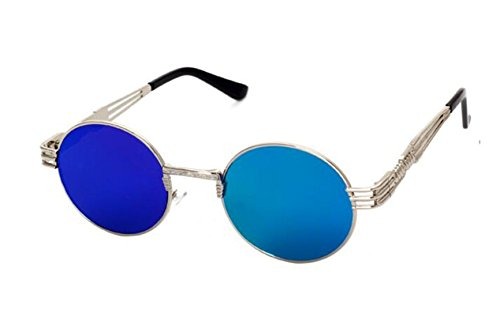 ef0cee69e4 GAMT Retro Metal Hipster Steampunk Round Style Coating Sunglasses  Silver-blue - Buy Online in Oman.