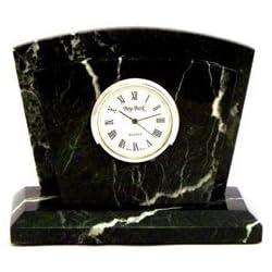 Bey-Berk D037 Black Zebra Marble with Chrome Plated Quartz Clock & Letter Rack,