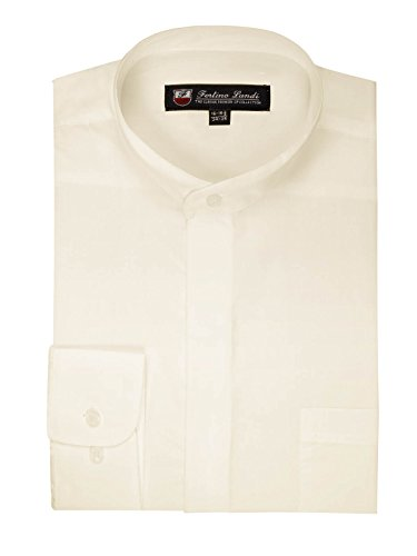 FORTINO LANDI Men's Long-Sleeve Banded Collar Shirt - Cream 2XL(18-18.5 Neck) Sleeve 36/37