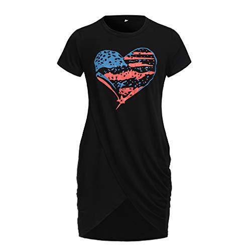 art Pattern Flag Print Dress Short Sleeve Split Crossover Hem Mini Dress Black ()