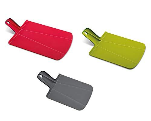 Joseph Joseph 96010 Chop2Pot Foldable Plastic Cutting Board 3-piece, Large/Small/Mini, Red/Green/Gray