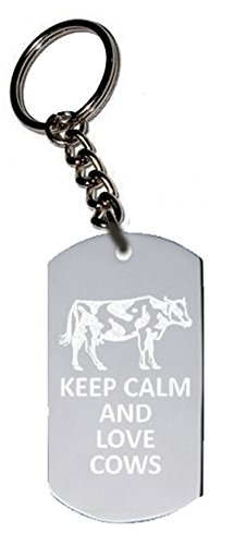Hat Shark Keep Calm and Love Cows Metal Ring Key Chain Keychain