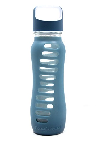 EcoVessel Surf Glass Water Bottle with Protective Silicone Sleeve and Loop Top, 22 Ounces, Storm Blue