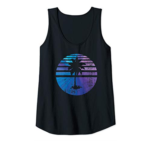 Womens Palm Tree Sunset Silhouette, Surfing Tank Top