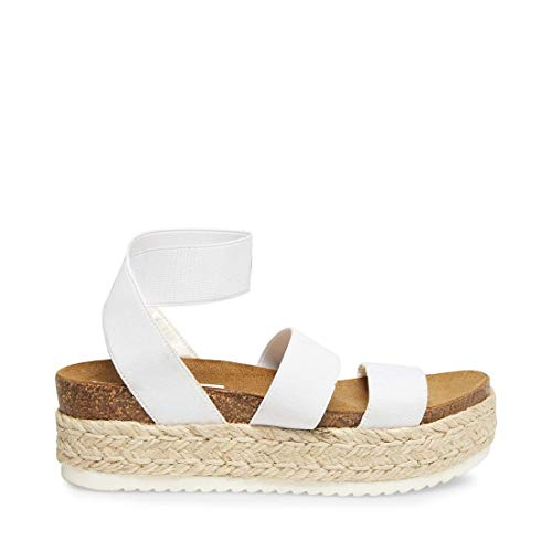 Steve Madden Women's Kimmie Wedge Sandal, White, 8 M US