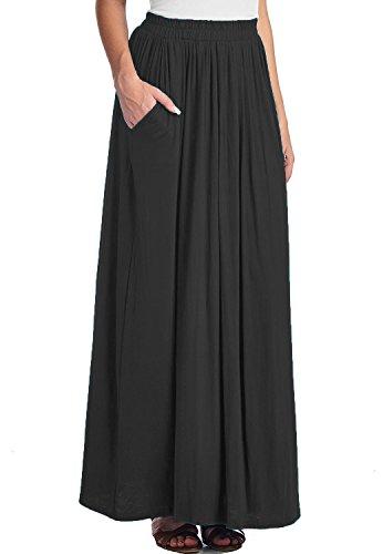 CoutureBridal® Damen Lange Sommerrock Rock Elastische Taille Maxi Lange Rock mit Taschen Elasthan Schwarz D95fj5se