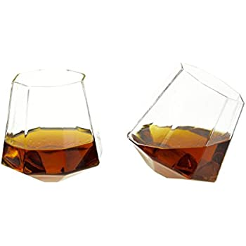 Diamond Shaped Whiskey Glass - 10 oz Unique Rocks Glass for Bourbon, Rum, Tequila, Scotch – Old Fashioned / Rocks Glasses from Prestige Decanters (Set of Two)