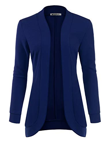 TWINTH Women's Long Sleeve Solid Color Knit Ribbed Neckline Cardigans Navy 2X Plus ()