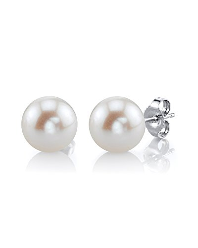 THE PEARL SOURCE 14K Gold 8-9mm AAA Quality Round White Freshwater Cultured Pearl Stud Earrings for Women