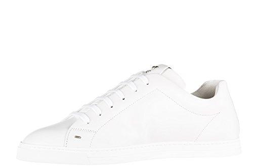 Fendi Zapatos Zapatillas de Deporte Hombres EN Piel Nuevo Blanco