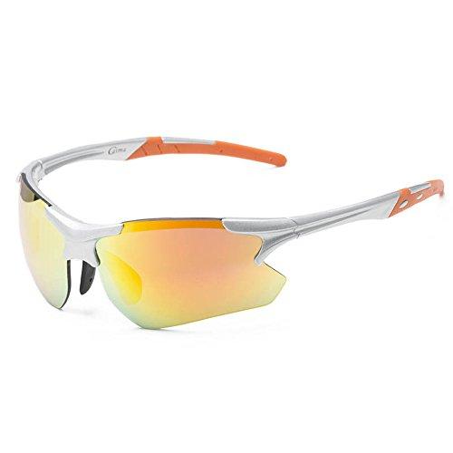 SACAS Running Cycling Triathlon Fashion Sports Wrap Sunglasses UNBREAKBLE TR90 Frame in Silver & Orange - Sunglasses Triathlon