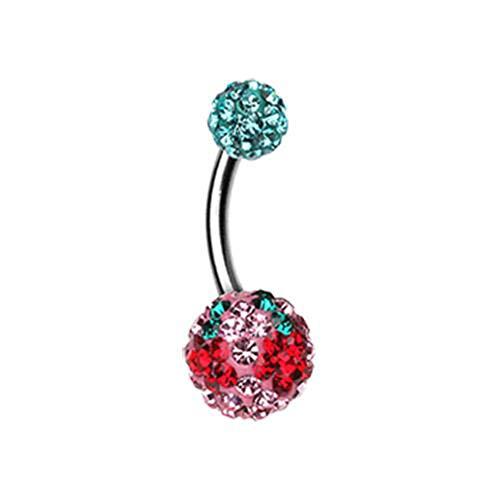 14 GA Cheri Cherry Multi-Sprinkle Dot Belly Button Ring 316L Surgical Stainless Steel Body Piercing Jewelry For Women and Men Davana Enterprises (Multiple Colors) (14GA Teal/Light Pink)