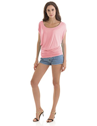 H2H Womens Round Neck Short Sleeve Shirred Side Dolman Top BABYPINK US L/Asia L (CWTTS0115)