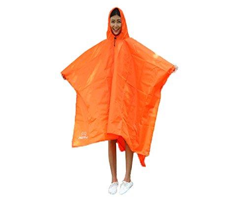 KingTo Multifunctional Raincoat Outdoor Waterproof Rain Poncho Backpack Rain Cover Portable Sunshade Camping Tarp, Ground Mat for Hiking,Camping or Traveling(orange) by KingTo