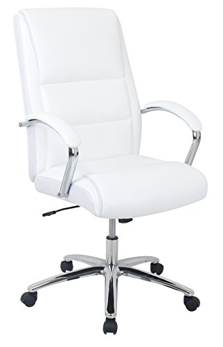 Kathy Ireland Upholstered Chair (Kathy Ireland ki80401H-3 the Ceo Bonded Leather High Back Executive Chair, White)
