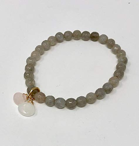 Labradorite Beaded Bracelet with Moonstone and Rose Quartz in Gold, Rose Gold, or Sterling Silver