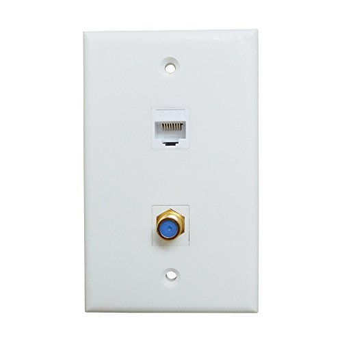 ESYLink AL304 Ethernet Coax Wall Plate - Cat6 Coax Wall Plate with 1 Ethernet Port + 1 TV Coax Cable/F-Type Connector - White