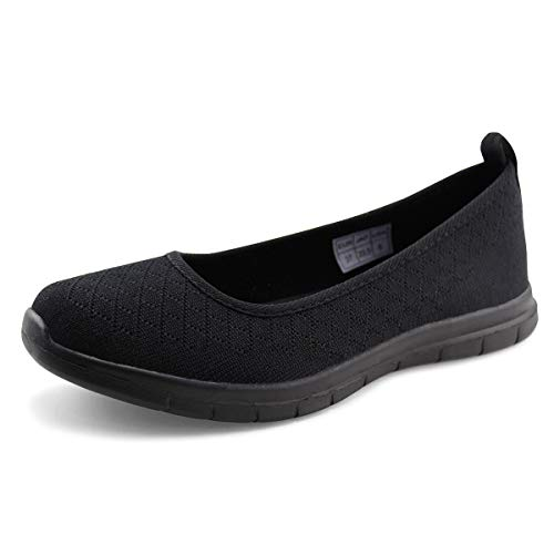 - Jabasic Women Knit Loafers Lightweight Slip On Flat Shoes (6,Black-1)
