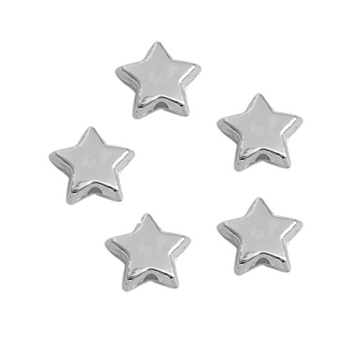 Star Spacer Beads - 275 Pieces, CCB Plastic Silver Tone, Small 10mm x 9mm (3/8 inch), 1.5mm Hole