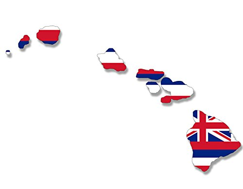 American Vinyl Hawaiian Islands Shaped Hawaii State Flag Flag Sticker