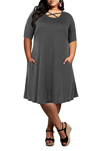 7ffa82d4073 Nemidor Women s Criss Cross Plus Size Casual T-Shirt Swing Dress with  Pockets (Grey
