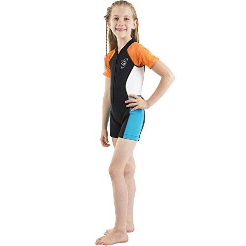 Seavenger Cadet 2mm Kids Shorty | Child Neoprene Wetsuit for Snorkeling, Surfing and Swimming (Orange, ()