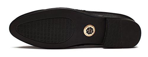 Slip Designer In Pelle Liscia Slip On Metal Dettaglio Tacco Basso Scarpe Fannullone Nero