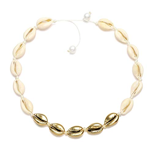 CEALXHENY Shell Choker Necklaces Bohemia Cowrie Shell Necklaces Beaded Seashell Necklaces Summer Beach Jewelry for Women (G White+Gold) ()
